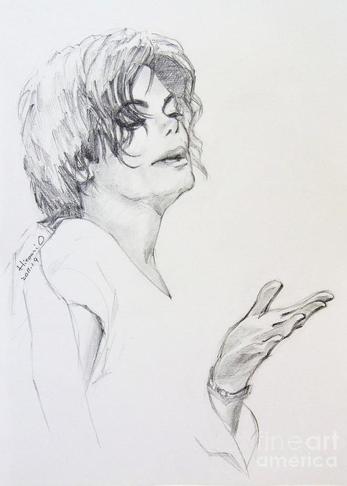 Michael Jackson Greeting Card featuring the drawing Michael Jackson - In 2001 Ny by Hitomi Osanai