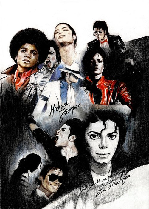 Lin Petershagen Greeting Card featuring the drawing Michael Jackson - King Of Pop by Lin Petershagen