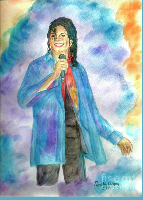 Michael Jackson Greeting Card featuring the painting Michael Jackson - The Final Curtain Call by Nicole Wang