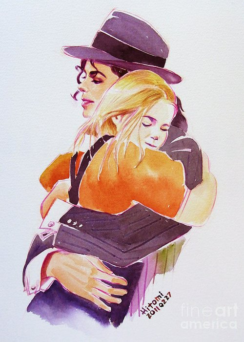 Michael Jackson Greeting Card featuring the painting Michael Jackson - With Katie by Hitomi Osanai