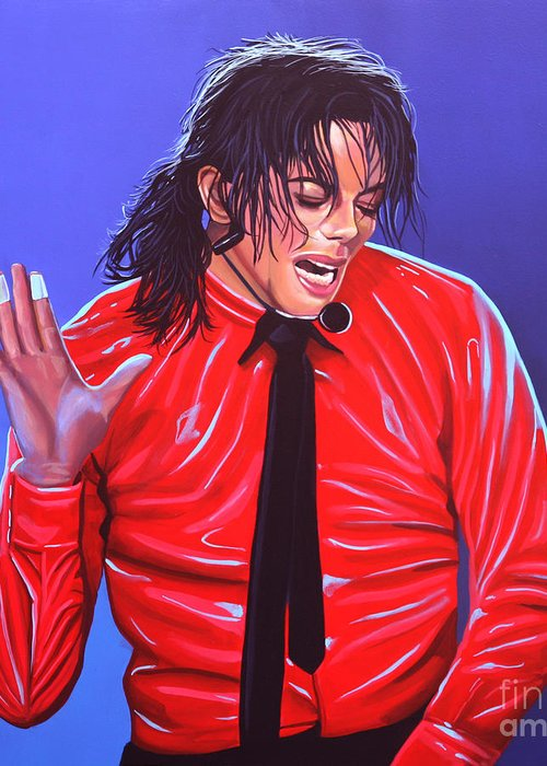 Michael Jackson Greeting Card featuring the painting Michael Jackson 2 by Paul Meijering