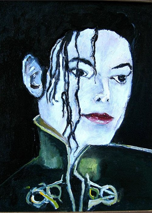 Music Greeting Card featuring the painting Michael Jackson 2 by Udi Peled