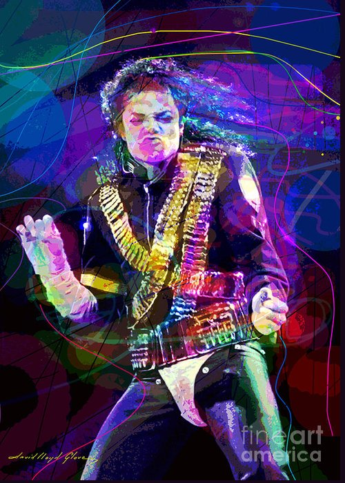 Michael Jackson Greeting Card featuring the painting Michael Jackson '93 Moves by David Lloyd Glover