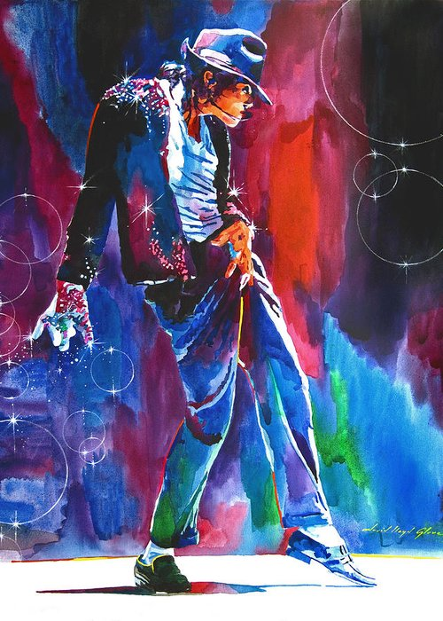 Michael Jackson Greeting Card featuring the painting Michael Jackson Action by David Lloyd Glover