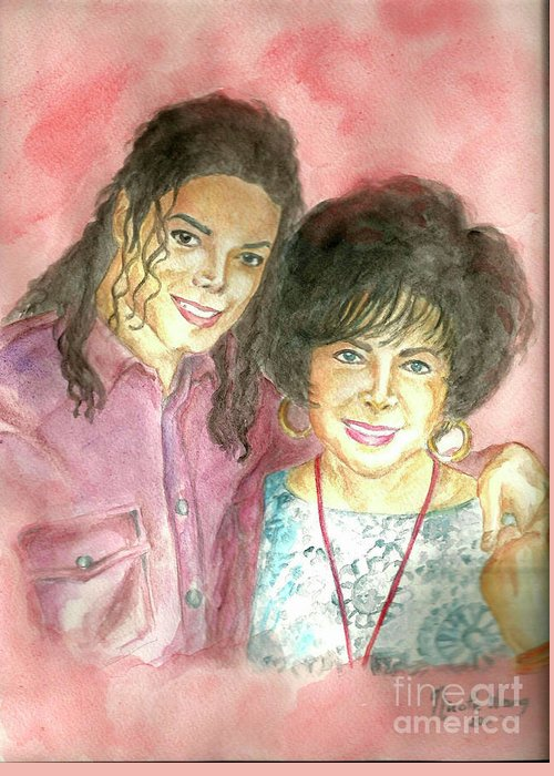 Michael Jackson Greeting Card featuring the painting Michael Jackson And Elizabeth Taylor by Nicole Wang