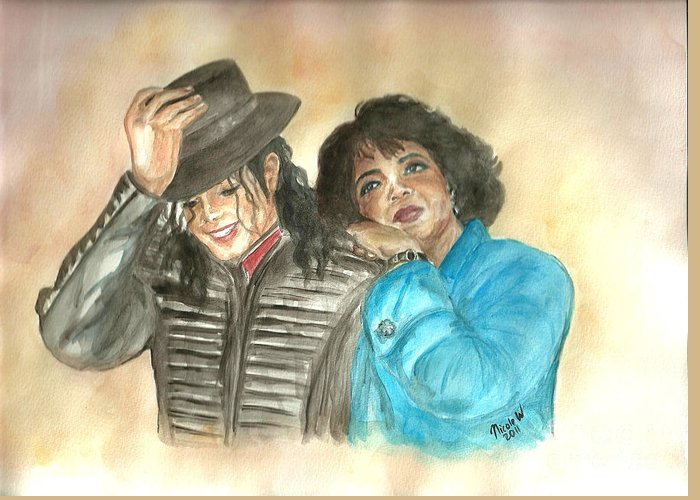 Michael Jackson And Oprah Greeting Card featuring the painting Michael Jackson And Oprah by Nicole Wang