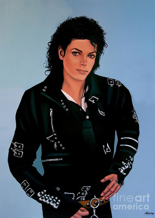 Michael Jackson Greeting Card featuring the painting Michael Jackson Bad by Paul Meijering