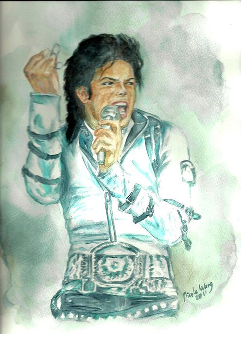 Michael Jackson Greeting Card featuring the painting Michael Jackson Bad Tour by Nicole Wang