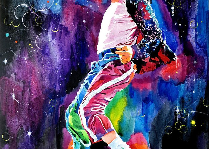 Michael Jackson Greeting Card featuring the painting Michael Jackson Dance by David Lloyd Glover