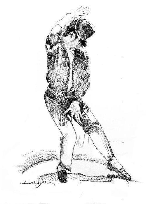Michael Jackson Greeting Card featuring the drawing Michael Jackson Dancer by David Lloyd Glover