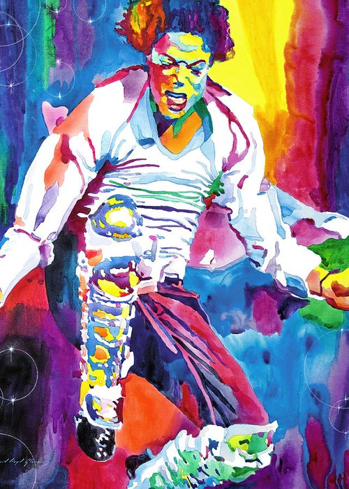 Michael Jackson Greeting Card featuring the painting Michael Jackson Fire by David Lloyd Glover