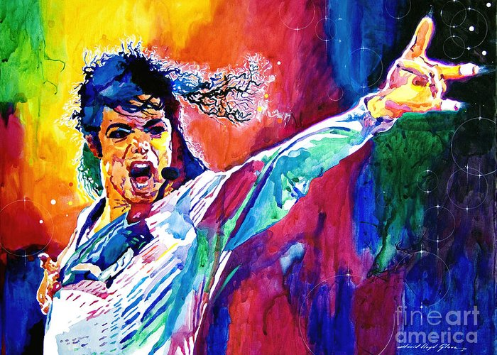 Michael Jackson Greeting Card featuring the painting Michael Jackson Force by David Lloyd Glover