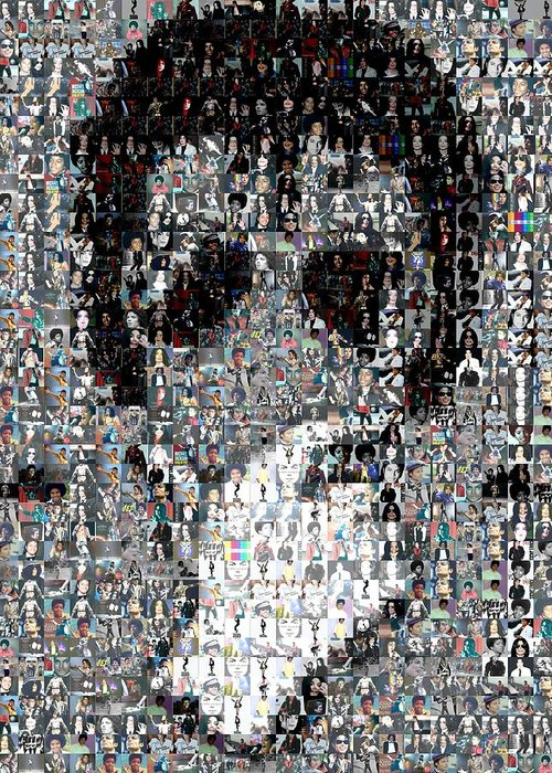 Michael Jackson Greeting Card featuring the mixed media Michael Jackson Glove Montage by Paul Van Scott