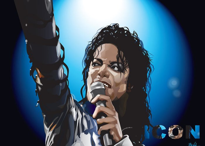 Celebrity Art Greeting Card featuring the digital art Michael Jackson Icon by Mike Haslam