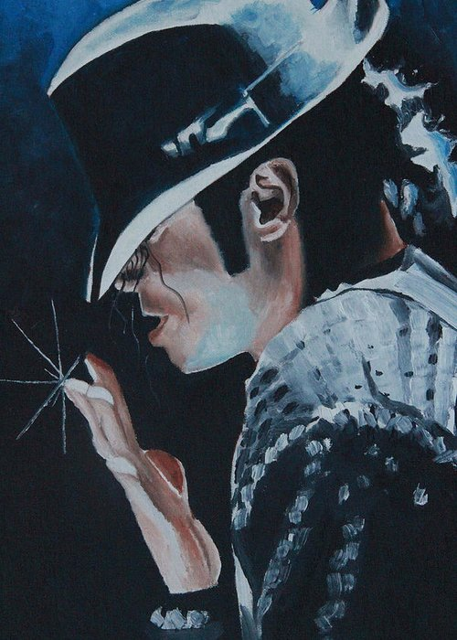 Michael Jackson Portrait Greeting Card featuring the painting Michael Jackson by Mikayla Ziegler