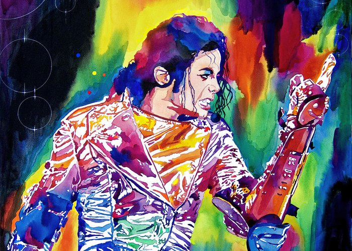 Michael Jackson Greeting Card featuring the painting Michael Jackson Showstopper by David Lloyd Glover