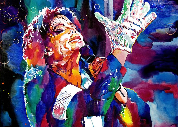 Michael Greeting Card featuring the painting Michael Jackson Sings by David Lloyd Glover