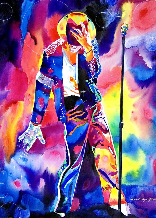 Michael Jackson Greeting Card featuring the painting Michael Jackson Sparkle by David Lloyd Glover