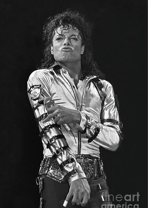 Music Legend Michael Jackson Is Shown Performing On Stage During A Live Concert Appearance Greeting Card featuring the photograph Michael Jackson - The King of Pop by Concert Photos
