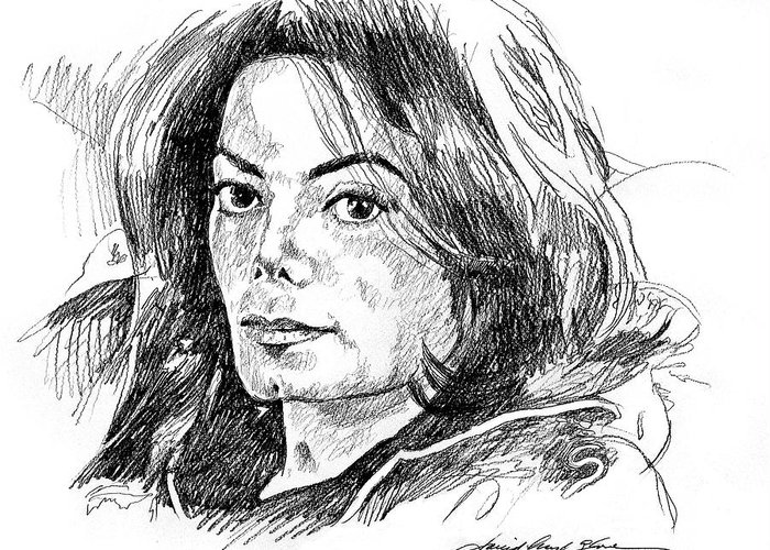 Michael Jackson Greeting Card featuring the drawing Michael Jackson Thoughts by David Lloyd Glover