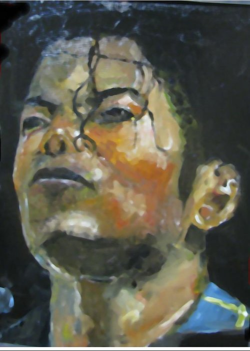 Music Greeting Card featuring the painting Michael Jackson by Udi Peled