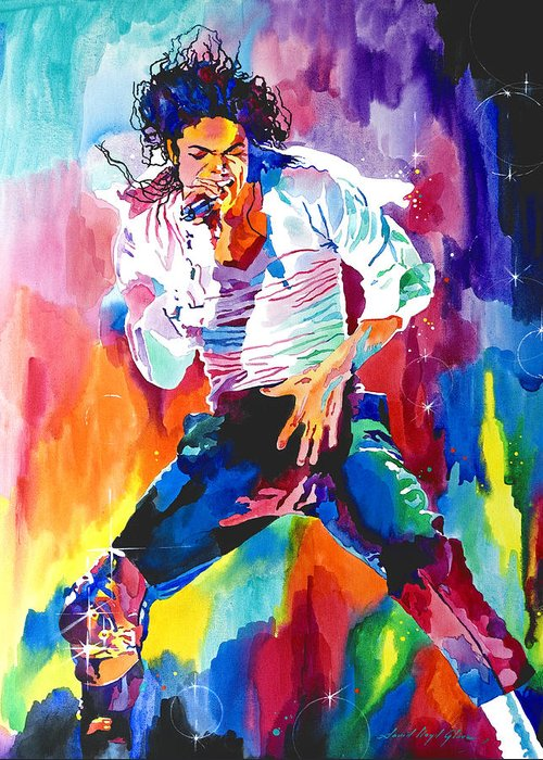 Michael Jackson Greeting Card featuring the painting Michael Jackson Wind by David Lloyd Glover