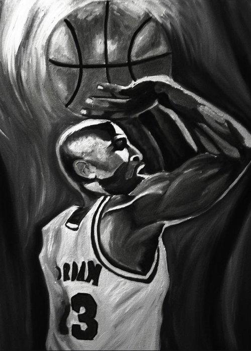 Michael Jordan Paintings Greeting Card featuring the painting Michael Jordan 5 by Mikayla Ziegler