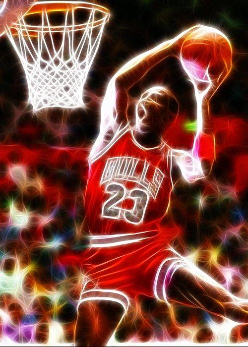 Mj Greeting Card featuring the digital art Michael Jordan Magical Dunk by Paul Van Scott