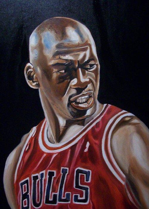Michael Jordan Painting Greeting Card featuring the painting Michael Jordan by Mikayla Ziegler