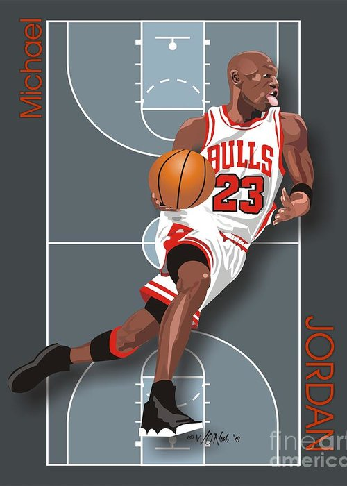 Portraits Greeting Card featuring the digital art Michael Jordan, No. 23 by Walter Oliver Neal