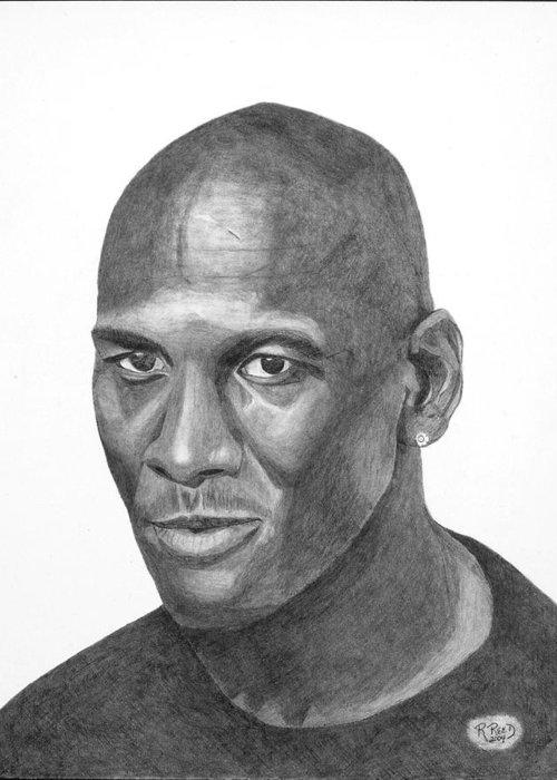Michael Jordan Greeting Card featuring the drawing Michael Jordan by Randy Reed