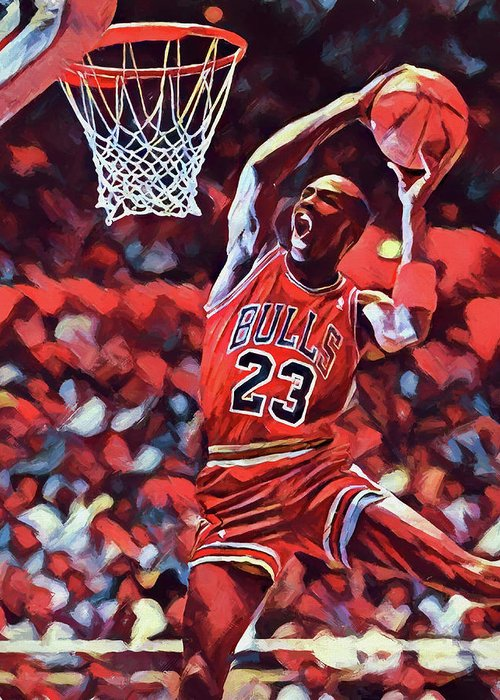brand new dd6b5 d9b70 Michael Jordan Slam Dunk Greeting Card for Sale by Dan Sproul