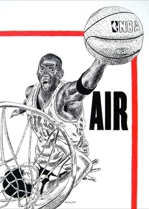 Michael Jordan Greeting Card featuring the drawing Michael Jordan by Vincent Wolff