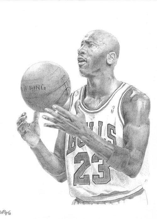 Michael Jordan Greeting Card featuring the drawing Michael Jordan by William Pleasant
