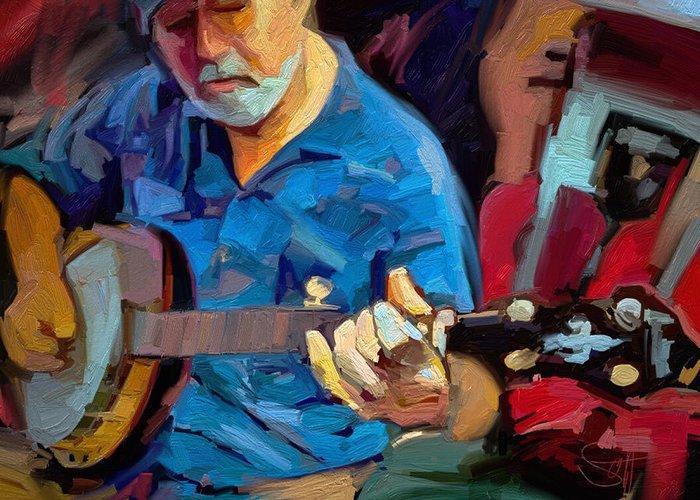Mike Banjo Music Musician Art Scott Waters Greeting Card featuring the digital art Michael by Scott Waters