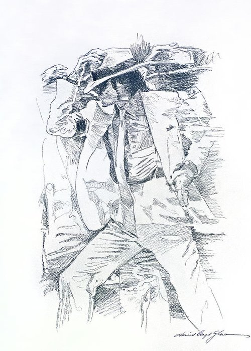 Michael Jackson Greeting Card featuring the drawing Michael Smooth Criminal II by David Lloyd Glover