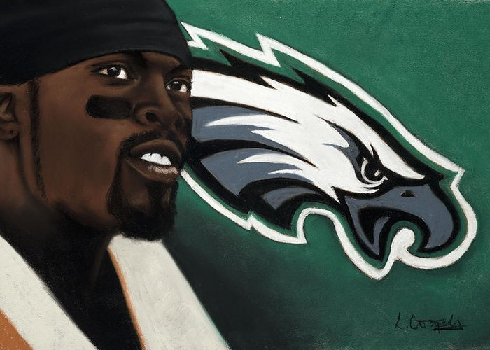 L Cooper Greeting Card featuring the pastel Michael Vick by L Cooper