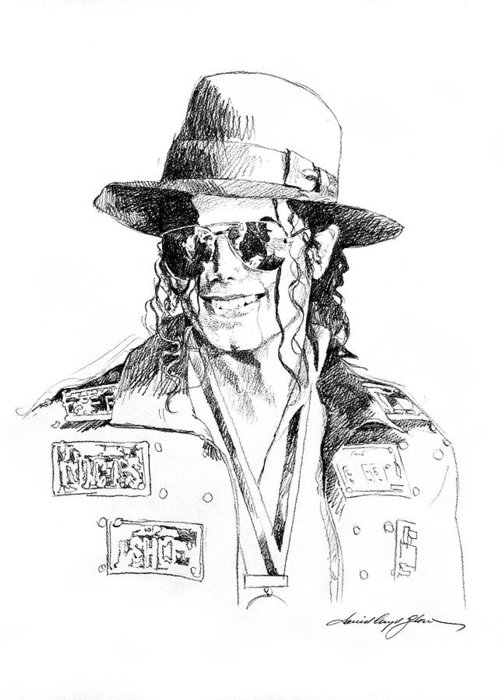 Michael Jackson Greeting Card featuring the drawing Michael's Jacket by David Lloyd Glover