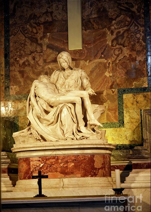 Michelangelo Masterpiece Of A Mother's Love Greeting Card featuring the photograph Michelangelo Masterpiece Of A Mother's Love by Brenda Kean