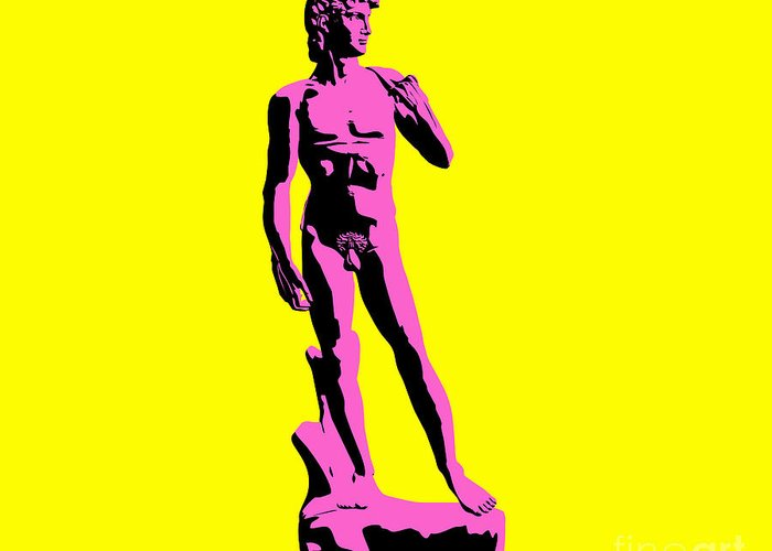 Michelangelo Greeting Card featuring the sculpture Michelangelos David - Punk Style by Pixel Chimp