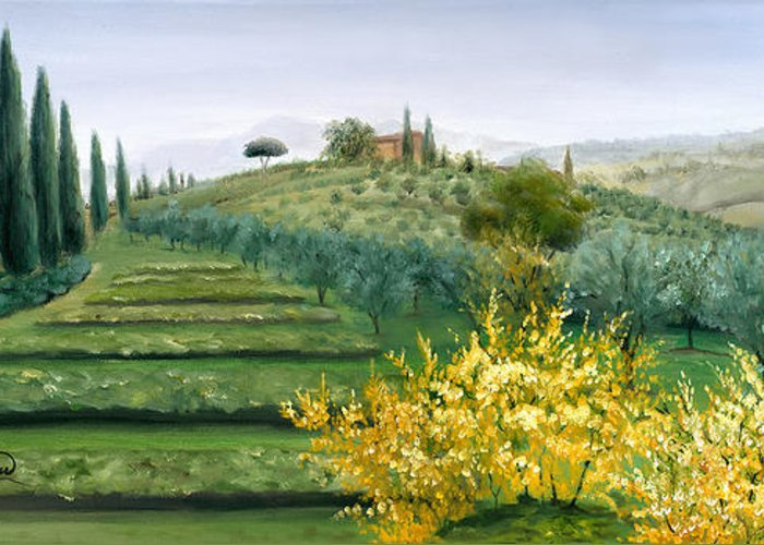 Cypress Trees Greeting Card featuring the painting Michela's View by Leah Wiedemer