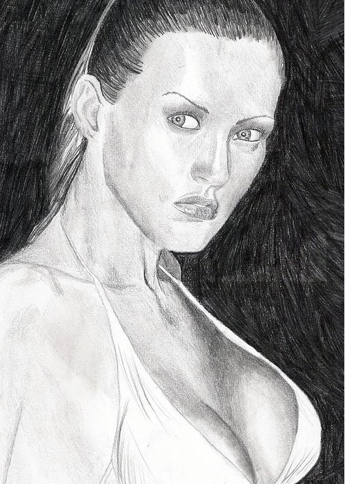 Nude Drawings Drawings Greeting Card featuring the drawing Michelle by Michael McKenzie