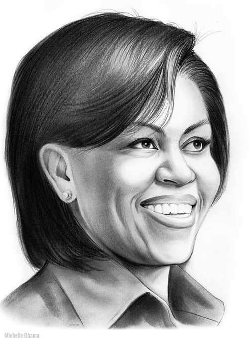 Michelle Obama Greeting Card featuring the drawing Michelle Obama by Greg Joens