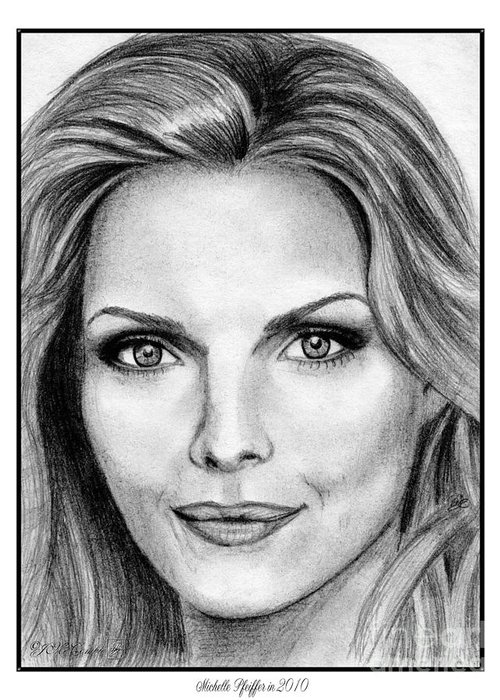 Michelle Pfeiffer Greeting Card featuring the drawing Michelle Pfeiffer In 2010 by J McCombie