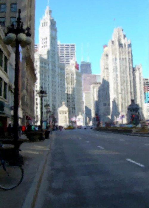 Chicago Greeting Card featuring the digital art Michigan Ave tall by Anita Burgermeister