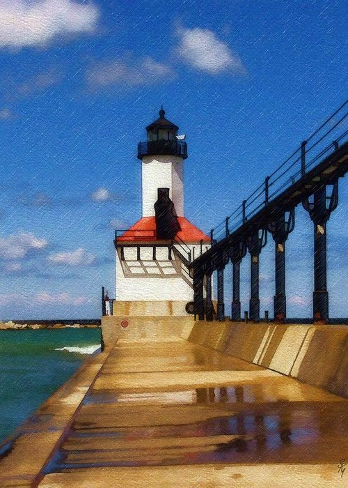 Lighthouse Greeting Card featuring the photograph Michigan City Light 1 by Sandy MacGowan