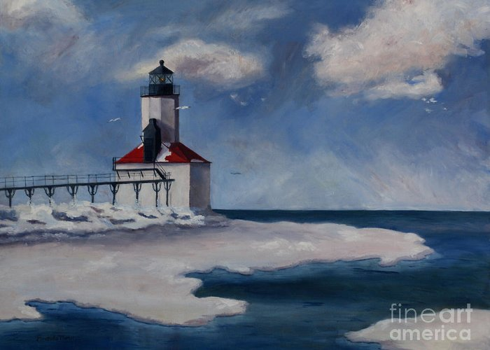 Lighthouse Greeting Card featuring the painting Michigan City Light by Brenda Thour