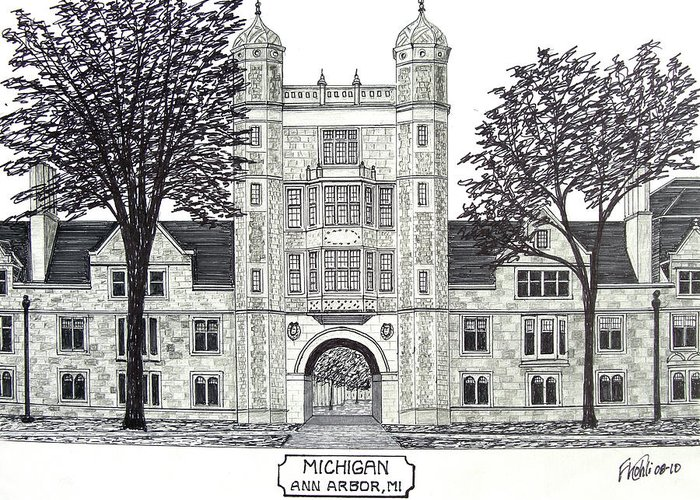 University Campus Drawings Greeting Cards