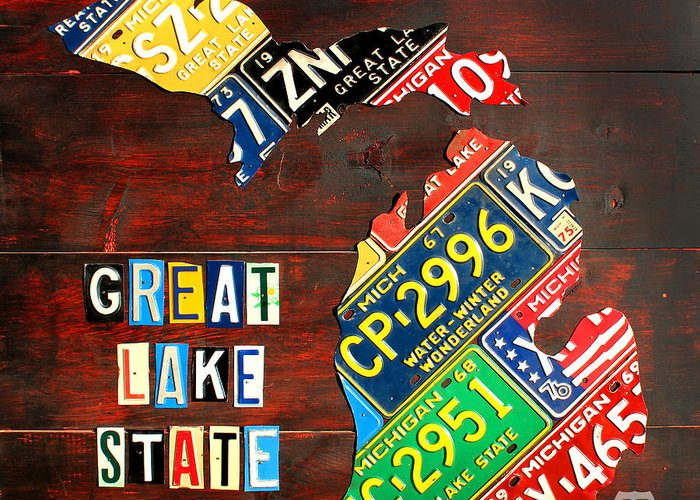 Michigan Greeting Card featuring the mixed media Michigan License Plate Map by Design Turnpike