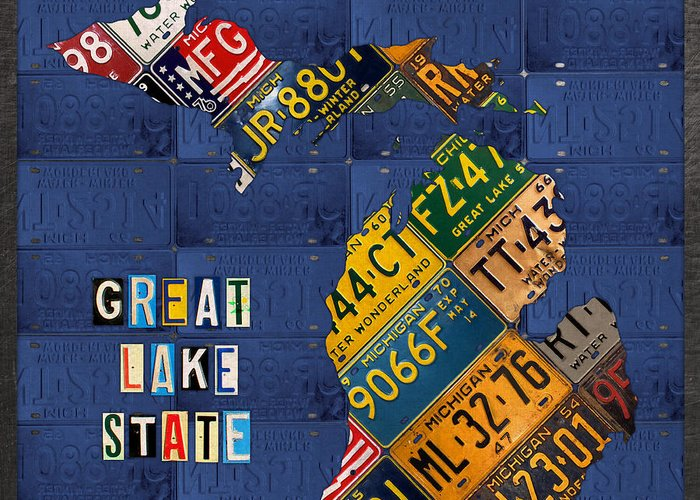 Michigan license plate map great lake state with vintage blue plate michigan greeting card featuring the mixed media michigan license plate map great lake state with vintage m4hsunfo